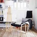 Lampa podłogowa drewniana LW18 biała