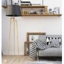 Drewniany Tripod z białym lub czarnym abażurem LW21