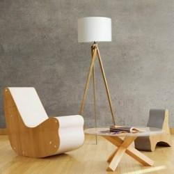 Lampa podłogowa tripod drewniany LW14- biały