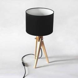 Lampa stołowa tripod drewniany czarny abażur LW16
